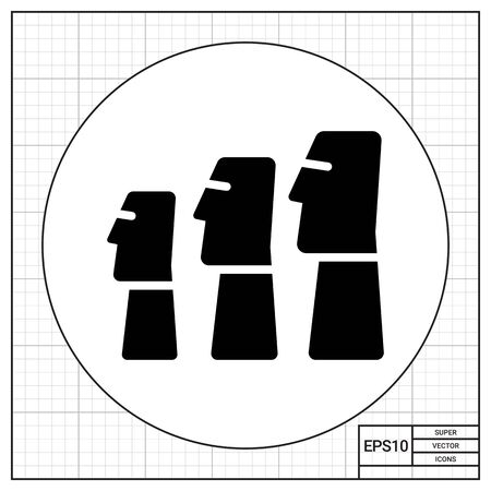ancient civilization: Icon of Moai statues from Easter Island Illustration