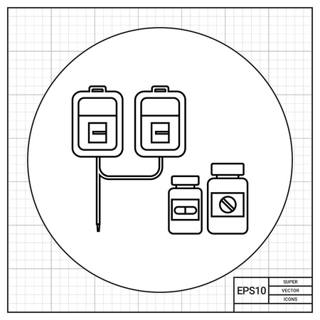 intravenous: Infusion set with two drip chambers and bottles with pills. Care, cure, hospital. Medication concept. Can be used for topics like medicine, health, therapy.