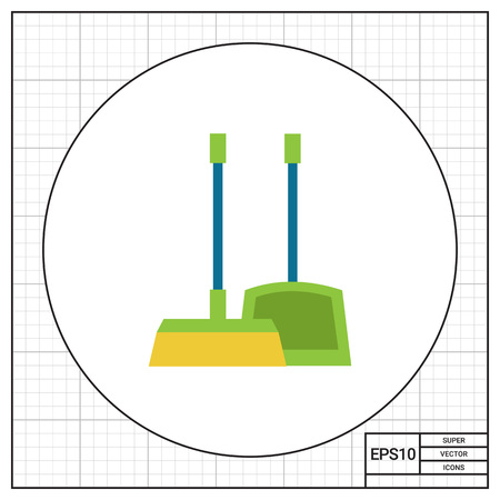 broom handle: Vector icon of dustpan and broom, isolated on white