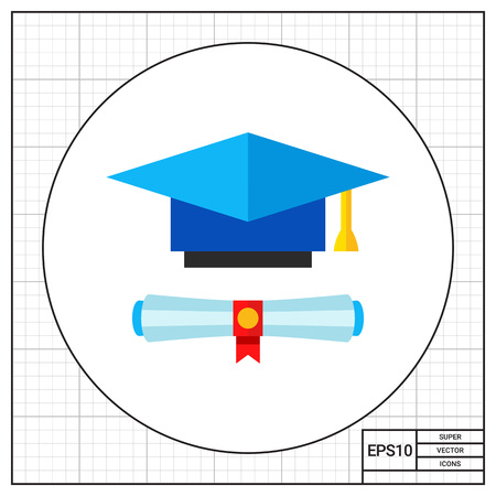 credentials: Diploma scroll and blue graduate hat with yellow tassel. Graduation, knowledge, learning. Education concept. Can be used for topics like study, teaching, education.