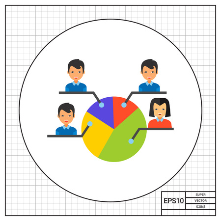 electoral system: Pie chart with male and female electors. Choice, percent, candidate. Electorate concept. Can be used for topics like politics, democracy, sociology.