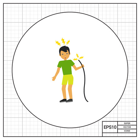 electric shock: Illustration of man getting electric shock from cable. Accident, electricity, danger. Electric shock concept. Can be used for topics like electricity, accident, work safety Illustration