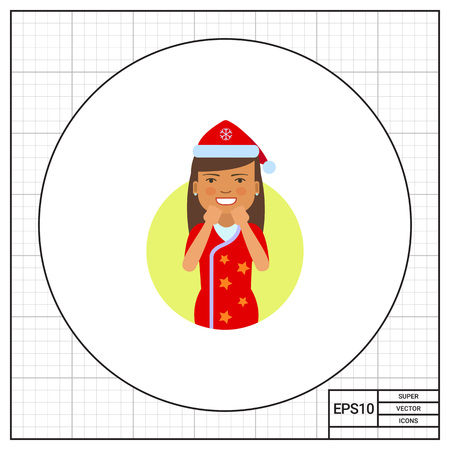 santa costume: Female character, portrait of excited woman in red Santa costume
