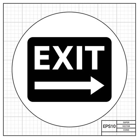 right side: Vector icon of exit sign with arrow to the right side Illustration