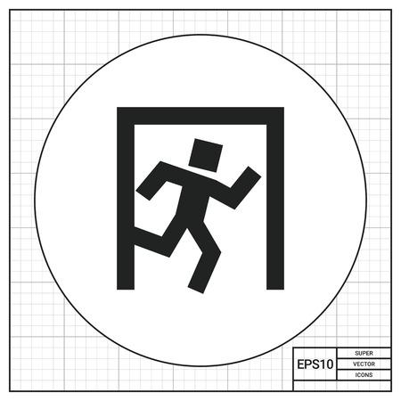 portone: Icona di uscita segno con l'uomo dato esecuzione a porta