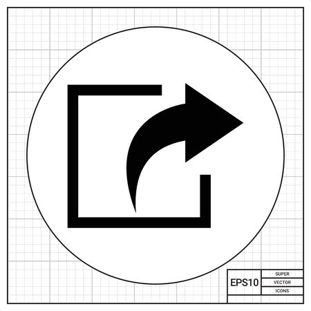 Vector icon of exit sign with arrow directed out of square