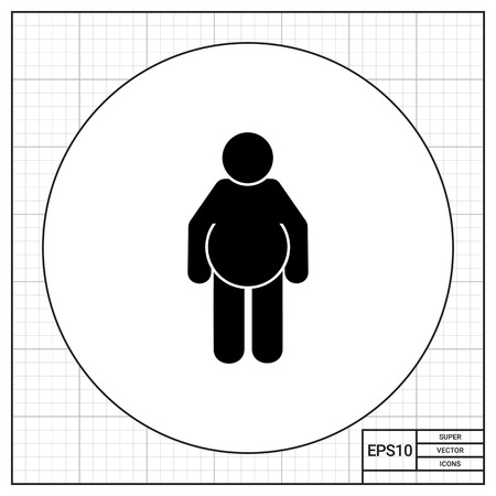 potbelly: Fat person. Excess, disease, beer. Obesity concept. Can be used for topics like health, dieting, medicine. Illustration