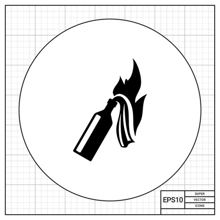 Molotov cocktail. Danger, threat, violence. Weapon concept. Can be used for topics like terrorism, war, technology. Illustration