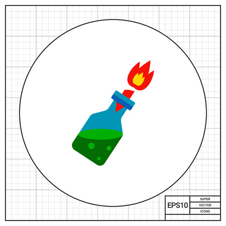 rebellion: Molotov cocktail with burning wick. Riot, danger, explosion. Fire cocktail concept. Can be used for topics like weapon, violence, terrorism.
