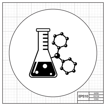 reagent: Monochrome vector icon of flask with substance on background of molecular structure