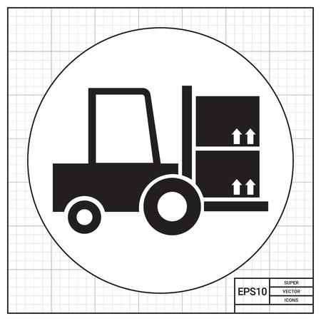 loaded: Icon of loaded fork lift truck Illustration