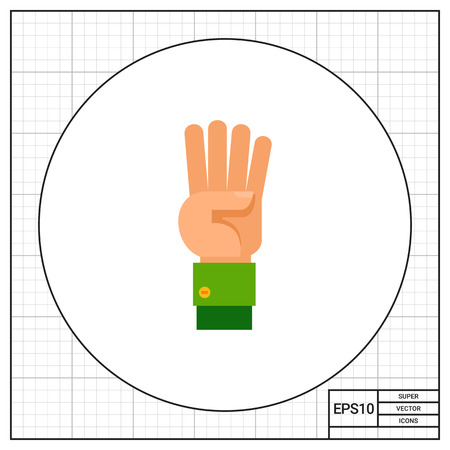 nonverbal: Illustration of left hand with four fingers pointing up. Hand gesture, number, fingers. Hand gesture concept. Can be used for topics like hand gesture, counting, nonverbal communication