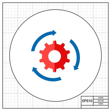 streamlining: Rotating gear with arrows. Process, motion, procedure. Workflow concept. Can be used for topics like business, management, planning.