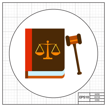 legislation: Illustration of gavel and book with scales image on its cover. Law, legislation, judgment. Law concept. Can be used for topics like law, legislation, justice Illustration