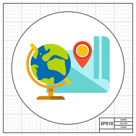 geography: Globe and map. Geography, school, map pointer, location. Geography concept. Can be used for topics like geography, education, school, knowledge