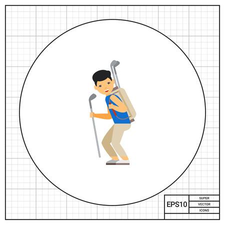 Golf caddy portant clubs. Équipement, loisirs, aide. Golf concept. Peut être utilisé pour des sujets tels que le golf, le sport, les jeux.