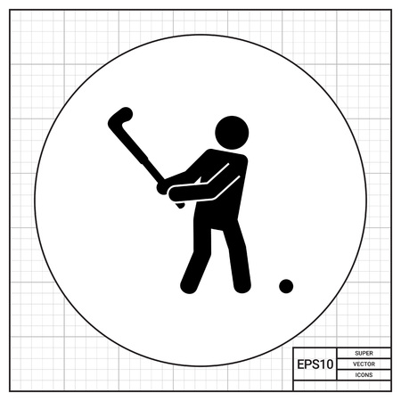swinging: Swinging golf player and ball. Course, nature, healthy. Golf concept. Can be used for topics like golf, sport, games. Illustration