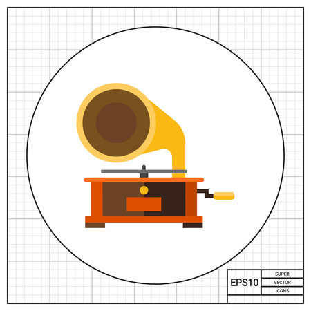 restored: Illustration of gramophone. Record player, music, phonograph, antiques. Music concept. Can be used for topics like music, entertainment, antiques