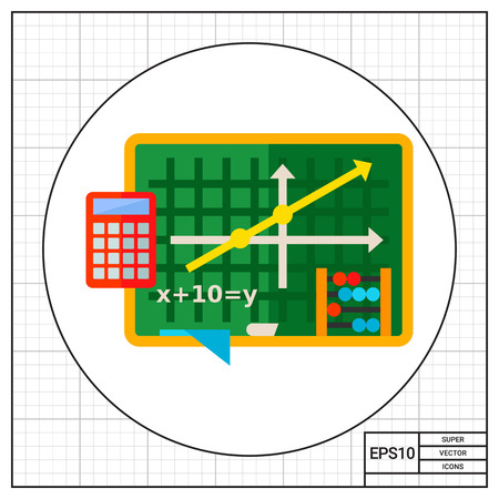 equation: Green blackboard with graph and equation. Algebra, school, calculator, counting frame. Algebra concept. Can be used for topics like school, education, knowledge