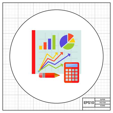 Graphs on board. Statistics, calculator, pencil, diagram. Statistics concept. Can be used for topics like statistics, analytics, finance, mathemetics Illustration