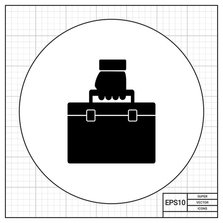 being the case: Monochrome vector icon of business case being carried in hand