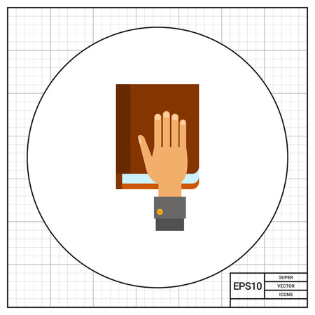 legislation: Illustration of human hand on constitution book. Taking oath, law, legislation. Oath concept. Can be used for topics like oath, constitution, legislation, law