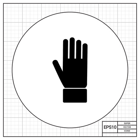 Monochrome simple icon of vertical positioned hand palm Ilustração