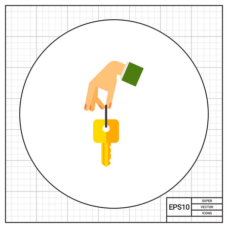 clue: Hand holding key. Clue, opening, nonverbal. Key concept. Can be used for topics like business, nonverbal communication, management. Illustration