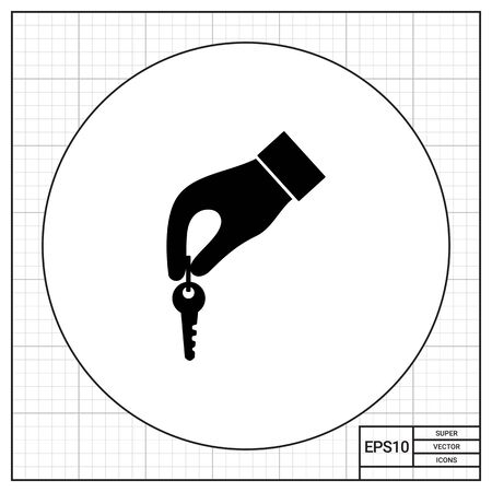 hand key: Monochrome simple icon of hand with key Illustration