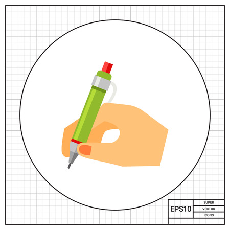 pen writing: Hand with pen writing. Letter, signature, document. Writing concept. Can be used for topics like business, communication, management. Illustration