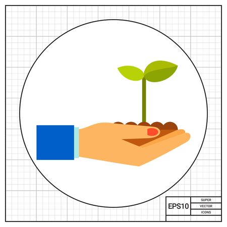 hands holding plant: Hands holding plant sprout growing in soil. Spring, nature, care. Plant concept. Can be used for topics like plant growing, agriculture, botany.