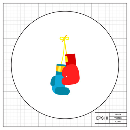 fist fight: Hanging red and blue boxing gloves. Punching, fist, fight. Boxing concept. Can be used for topics like sport, health, boxing. Illustration