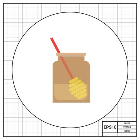 dipper: Icon of glass jar half-full with honey and honey dipper inside