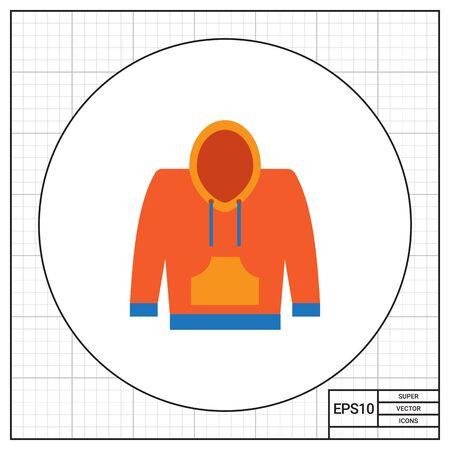 sweatshirt: Vector icon of yellow and blue hoody sweatshirt