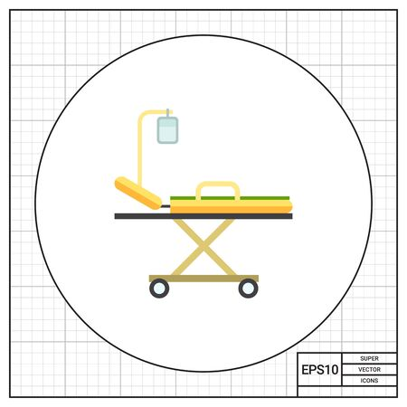 intravenous: Multicolored vector icon of hospital stretcher bed with intravenous infusion drip Illustration