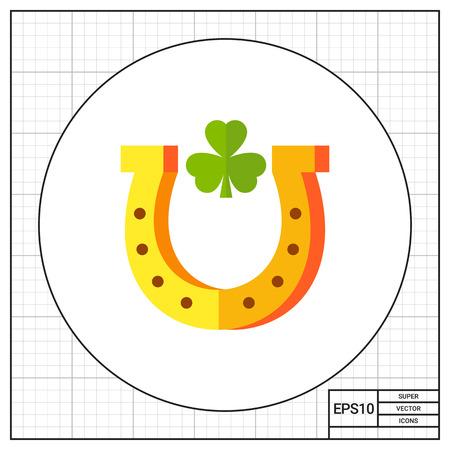 talismán: Herradura con la hoja de trébol en el interior. Fortuna, talismán, decoración. concepto de la suerte. Puede ser utilizado para temas como el juego, la comercialización, la mitología. Vectores