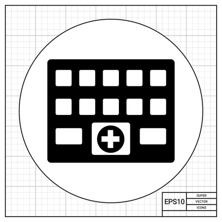 curing: Hospital building with medical cross sign. Curing, recovery, care. Hospital concept. Can be used for topics like medicine, health, healthcare. Illustration