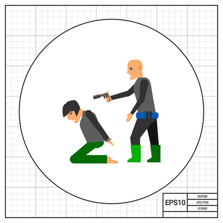 Hostage on knees and terrorist pointing gun at him. Terror, threat, killing. Kidnapping concept. Can be used for topics like terrorism, violence, criminality. Ilustração