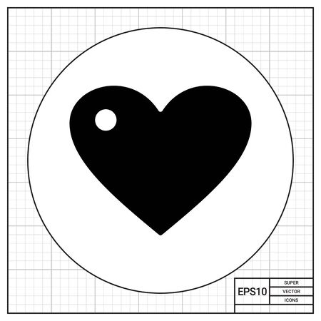 reflection: Monochrome vector icon of heart with reflection Illustration