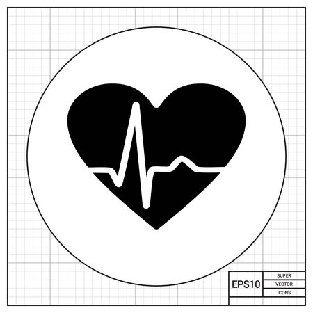 heartbeat line: Heart with heartbeat line graph. Monitoring, data, care. Cardiogram concept. Can be used for topics like medicine, health, healthcare, cardiology.