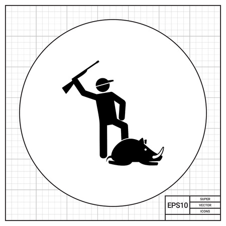 killed: Man holding gun above his head and lying wild boar. Hitting, pride, prey. Hunting concept. Can be used for topics like hunting, nature, biology. Illustration