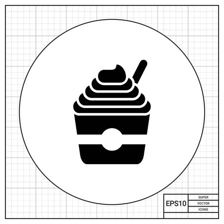 milk pail: Vector icon of soft ice cream served in bucket with spoon Illustration