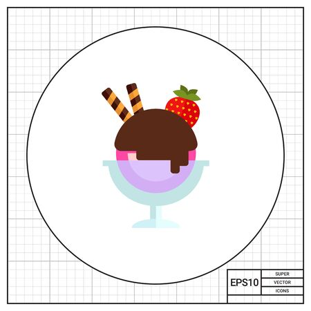 topping: Vector icon of ice cream with topping in glass dessert bowl