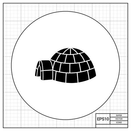 snow house: Vector icon of igloo, spherical Eskimo snow house