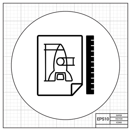 Vector icon of paper sheet with racket draft and ruler behind it representing prototype concept