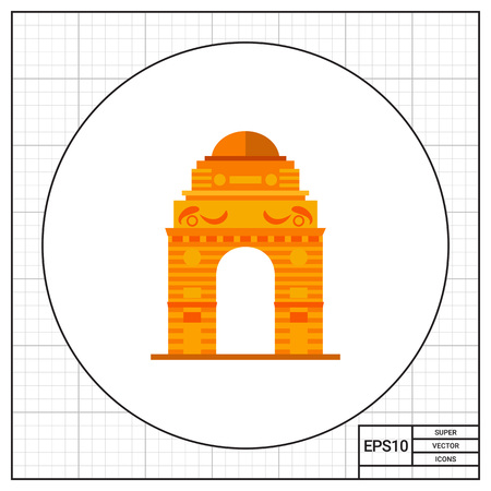 topics: Indian gate. Landmark, traditional, building. India concept. Can be used for topics like culture, architecture, history.