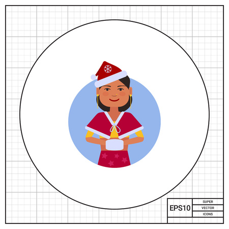 muff: Female character, portrait of Indian teenage girl in Santa costume with muff Illustration