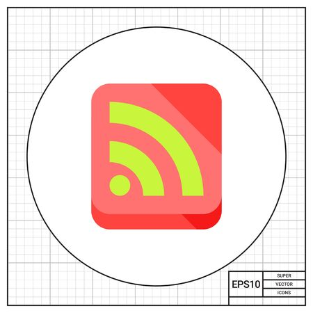 web feed: Illustration of green Internet feed sign in coral square. Web feed, network, content. Internet feed concept. Can be used for topics like social media, website, network