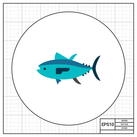 topics: Isolated tuna. Catch, water, wildlife. Fish concept. Can be used for topics like fishing, zoology, cooking. Illustration