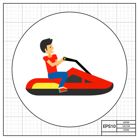 Jet ski with driver sitting on it. Water, transportation, speed. Jet ski concept. Can be used for topics like sport, health, technology.